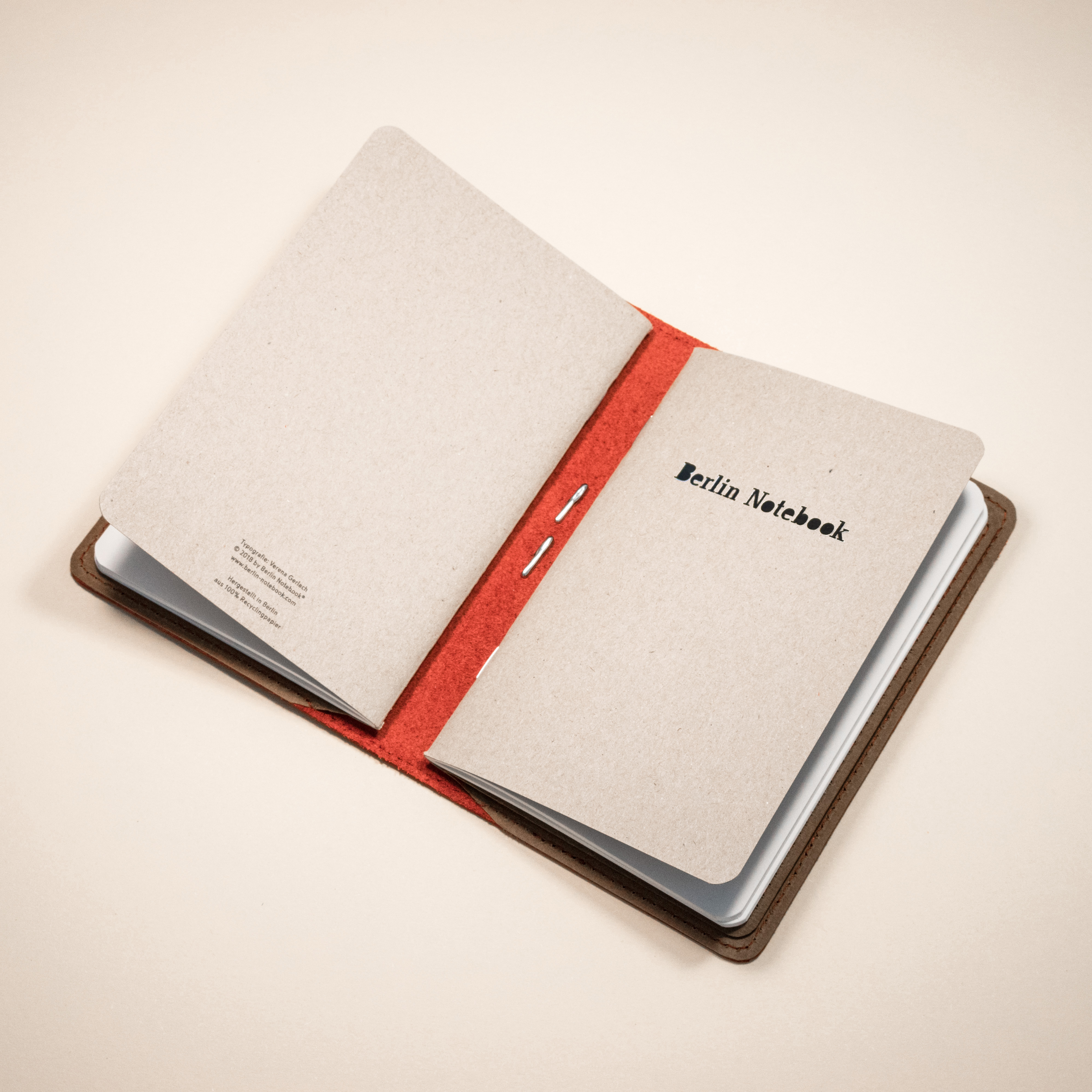 Berlin Notebook Leather Notebook Cover - Red Fire