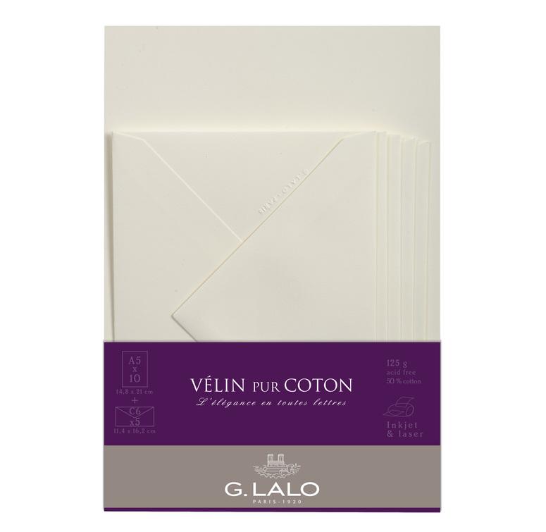 G.Lalo Stationery Set -Vèlin pur Coton A5